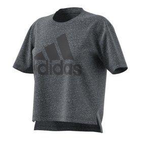 Adidas Womens Boxy Logo Tee Top Grey XS